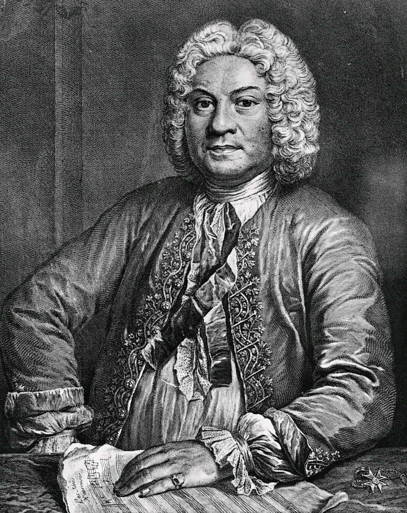 Jean-Jacques Flipart, Portrait of Francois Couperin, copper engraving after the painting by André Bouys, 1735.