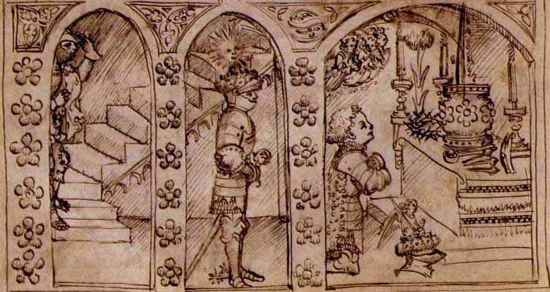 The Knights enter the Chapel of the Holy Grail in Bembo's Lancelot