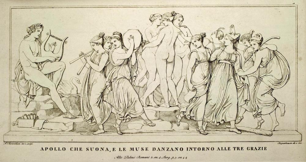 Apollo. The Graces and the Muses. Depiction of the bas-relief by Bertel Thorvaldsen, 1811, drawn and engraved by Riepenhausen and Ferdinand Mori, from an album published in Rome, 1811. Source: Heidelberg University Library