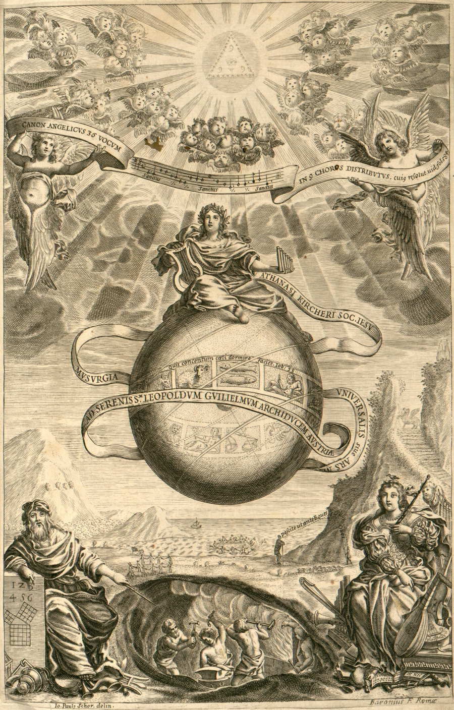 Frontispiece from Liber I of Athanasius Kircher's Musurgia Universalis, 1650. Engraved by Baronius of Rome after a drawing by John Paul Schor. See also the frontispiece of his Arithmologia  (1665) on numerical mysteries.