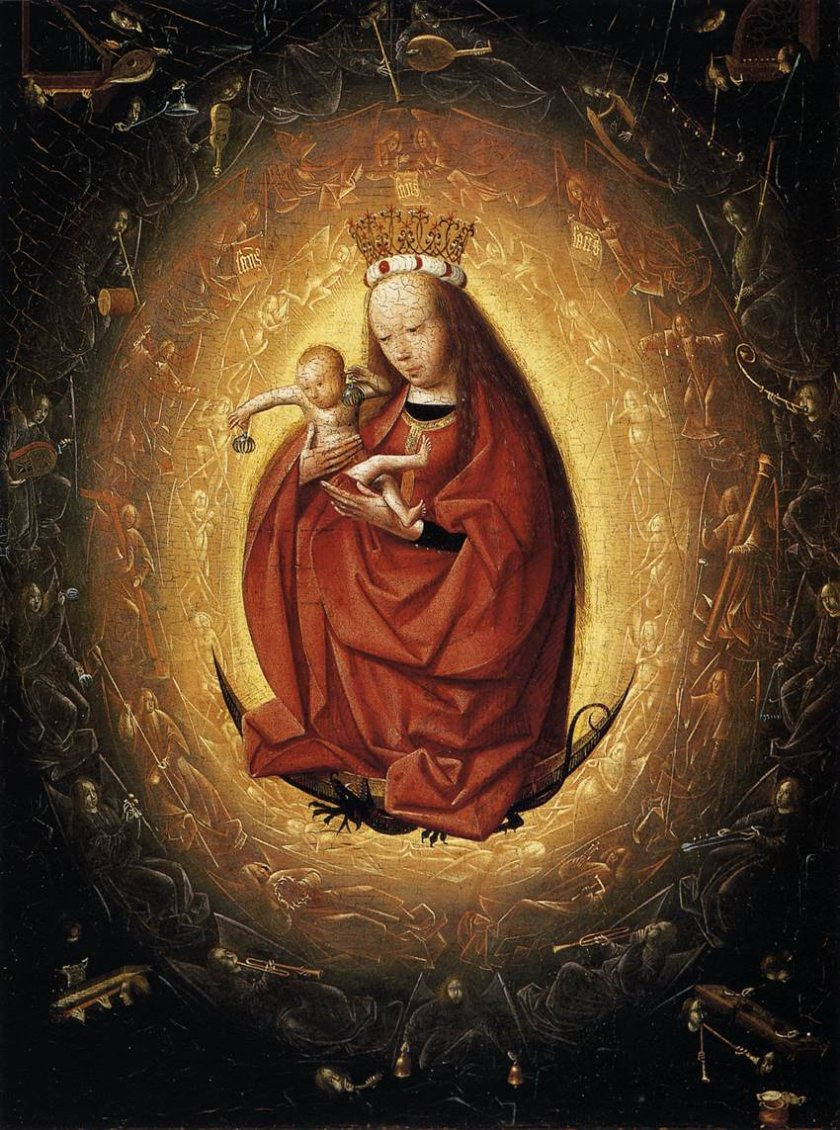 "A depiction of ""audible light,"" or ""luminous sound"": The Glorification of the Virgin by Geertgen tot Sint Jans, Museum Boijmans van Beuningen.  Click here to listen to the musical instruments depicted in the painting."