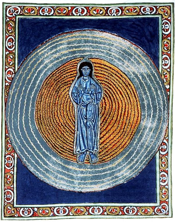Hildegard von Bingen, Second Vision of the Trinity, Scivias Codex: Book II, 1165 CE. Wiesbaden, Landesbibliothek, source