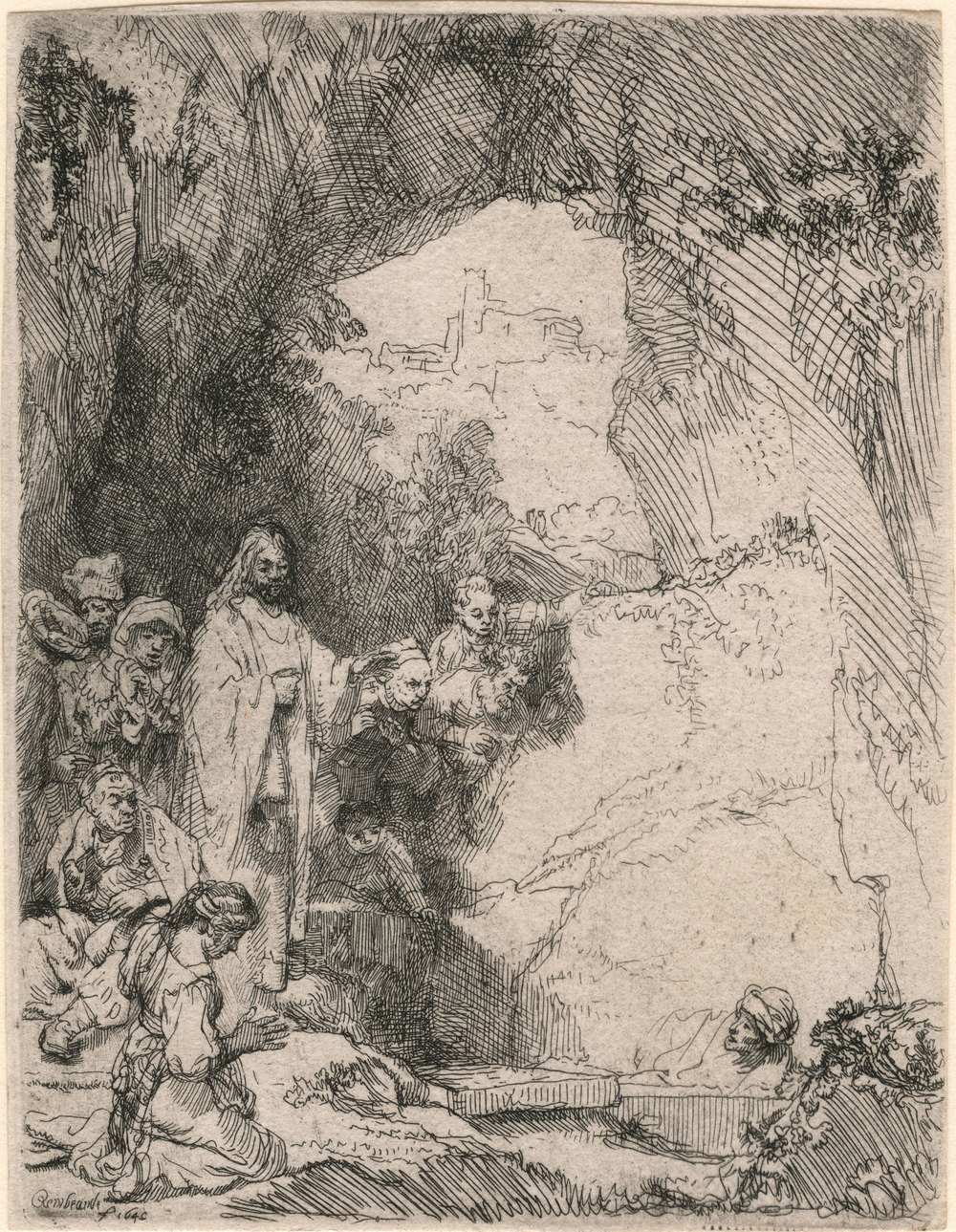 Rembrandt,  Raising of Lazarus , etching, 1642, Morgan Museum and Library, New York