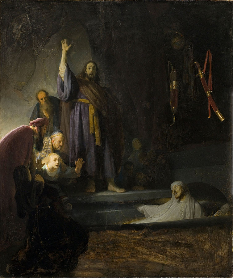 Rembrandt,  Raising of Lazarus , oil on panel, c. 1632, LA County Museum of Art
