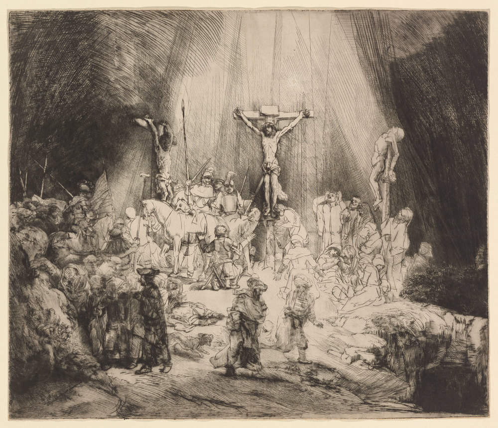 "Rembrandt,  Christ Crucified Between the Two Thieves (""The Three Crosses"") , drypoint, 1653, Museum of Fine arts, Boston"