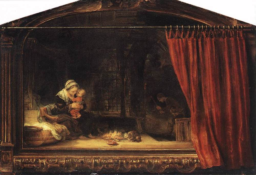 Rembrandt,  The Holy Family with Painted Frame and Curtain , oil on panel, 1646, Museum Schloss Wilhelmshöhe, Kassel