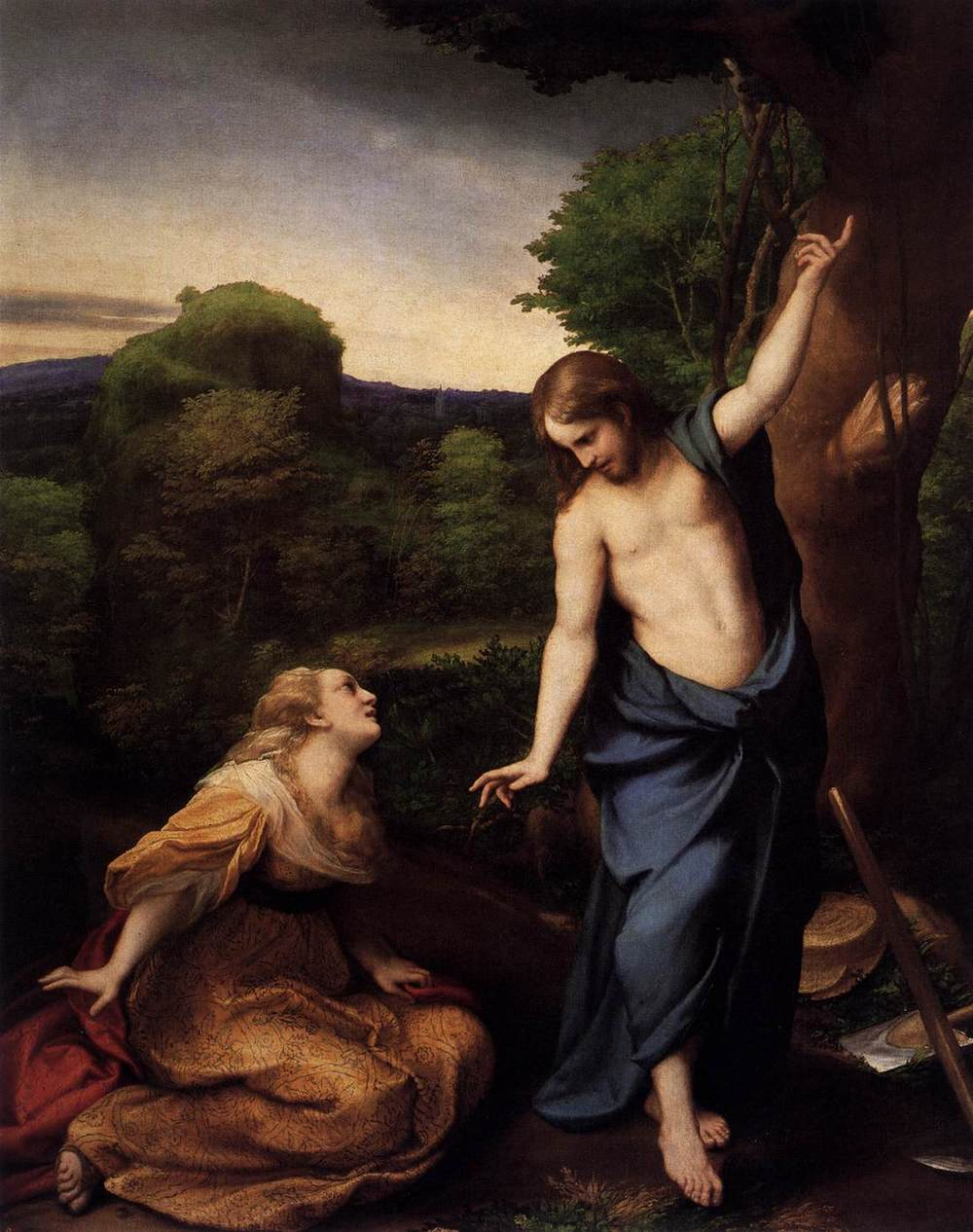 Correggio,  Noli Me Tangere , oil on panel transferred to canvas, c. 1525, Museo del Prado, Madrid