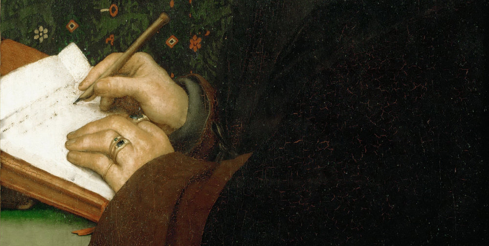 Image: Hans Holbein, Portrait of Erasmus (detail), 1523, Musée du Louvre