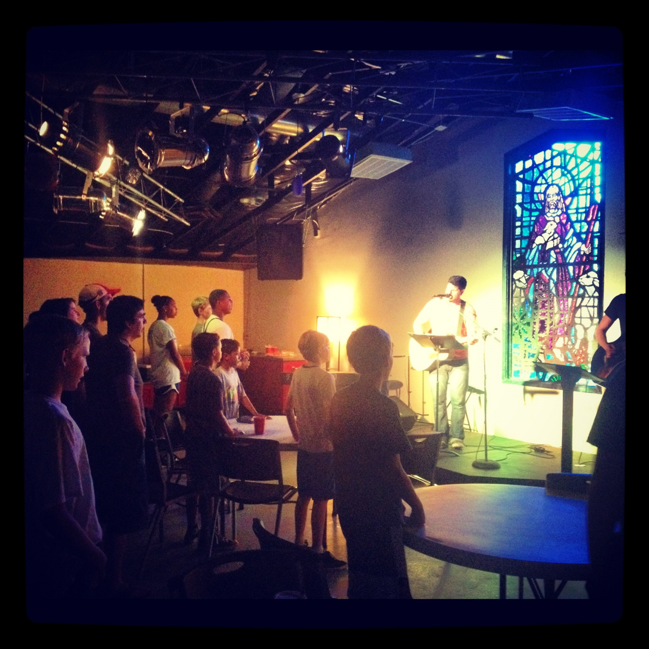 Students in worship