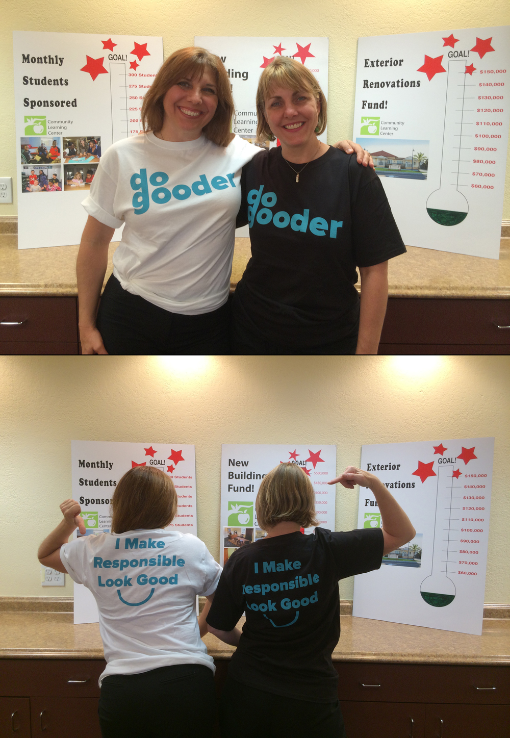 Lynn Posyton and Holly Haggerty rocking their shirts at the Community Learning Center!