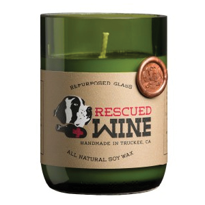 Rescued wine  A portion of the proceeds of each candle is given back to animal rescue.   www.rescuedwinecandles.com