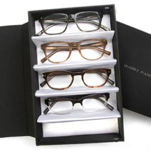 warby parker Warby Parker makes very trendy glasses and they give you the chance to try them on in your own home- 5 pairs for 5 days!  This company is also a One for One company and for every pair of glasses purchased, a pair is distributed to someone in need.  https://www.warbyparker.com