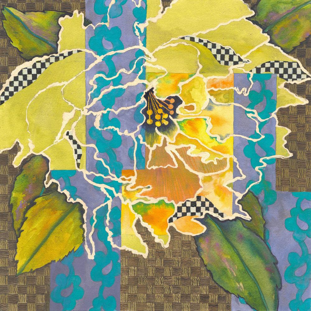 "Floral Textile 13"" x 13"" - Nancy Taylor"