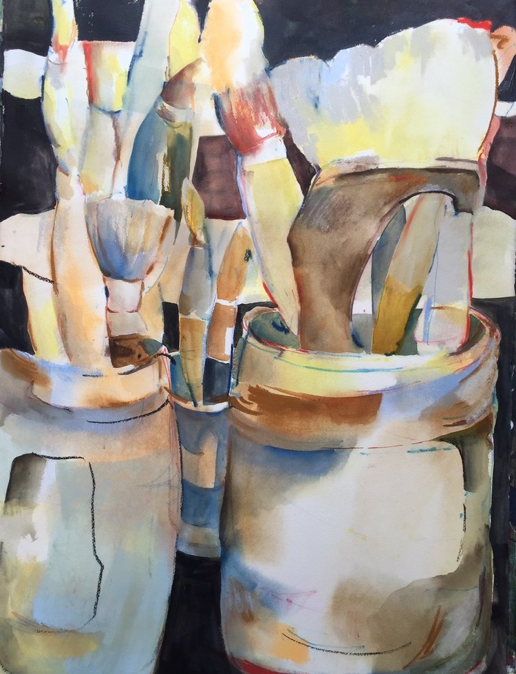 "Brushes and Pots 30""x22"" - Frances Hill"
