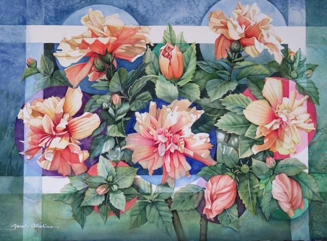 """Cycle of Hibiscus 22""""x30"""" - Yasuko Abeshima"""