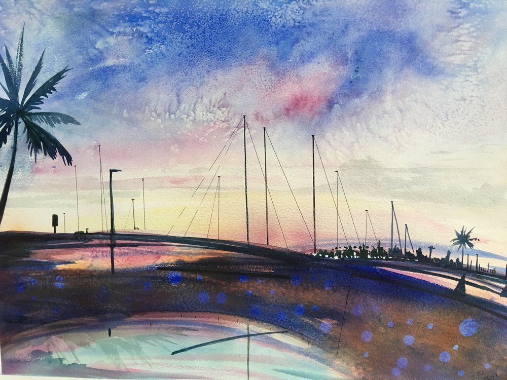 "Sunset Alamoana 16""x22"" - Jane Ra"