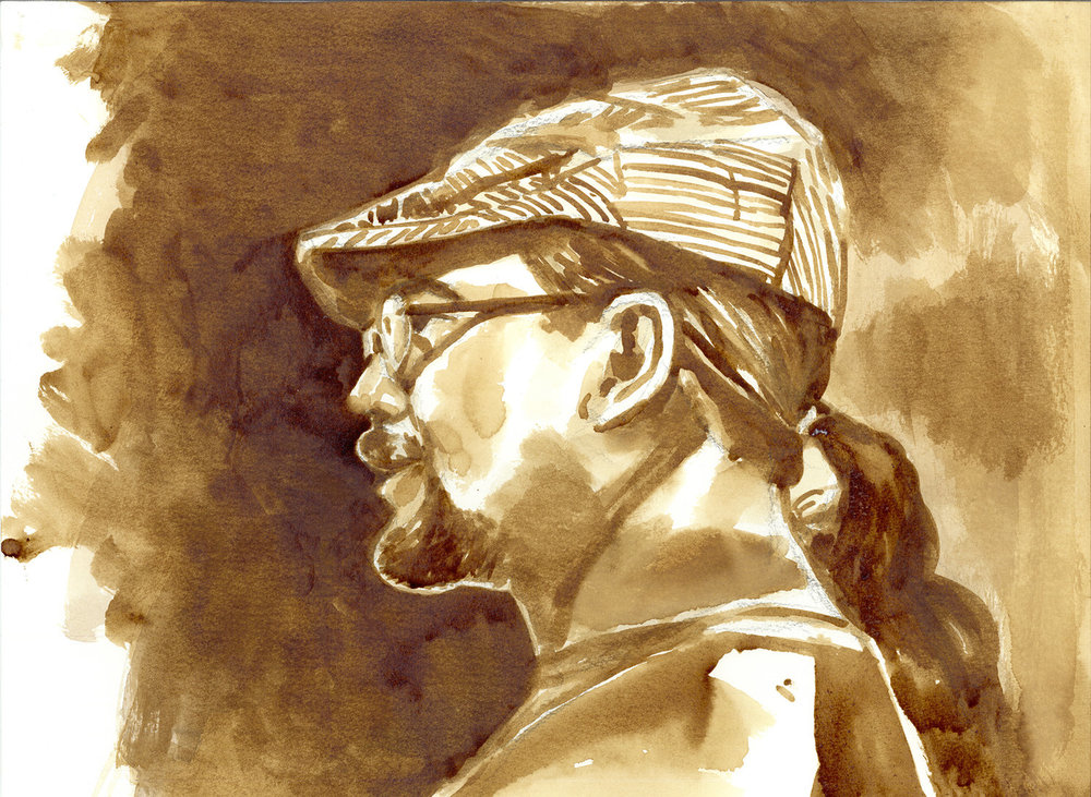 "Self Portrait Coffee Painting 11""x15"" - Jimmy Tablante"