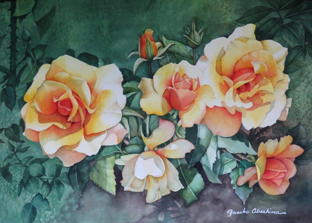 """Visit to a Rose Garden I  15"""" x 22"""" - Yasuko Abeshima"""