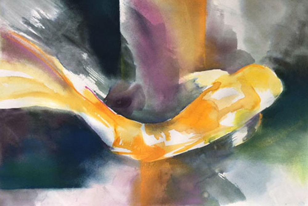 """Golden Koi 13"""" x 21"""" - Arlene G. Woo"""