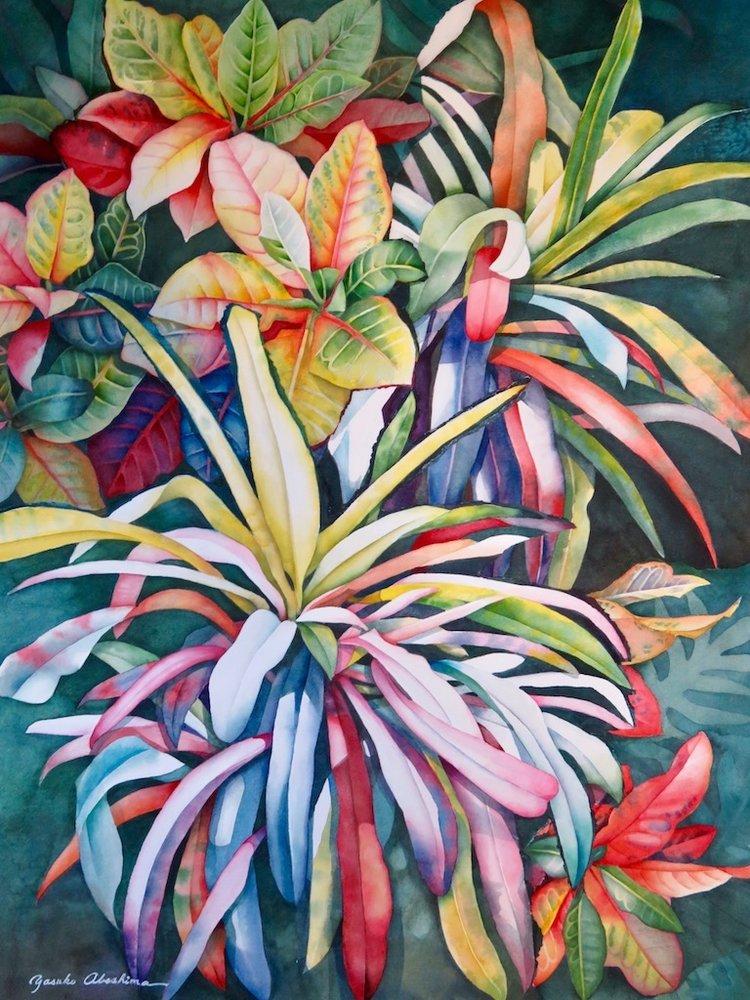 """Crotons 30""""x22"""" - Yasuko Abeshima"""