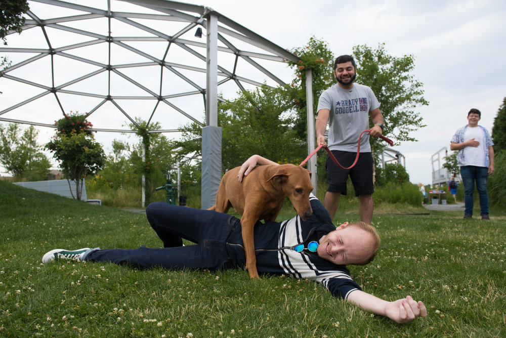 The Apollinaire Theatre Company takes advantage of the unique industrial features of Port Park. Here star Brooks Reeves goes through a practice run with Charlie, the performing dog for the evening.