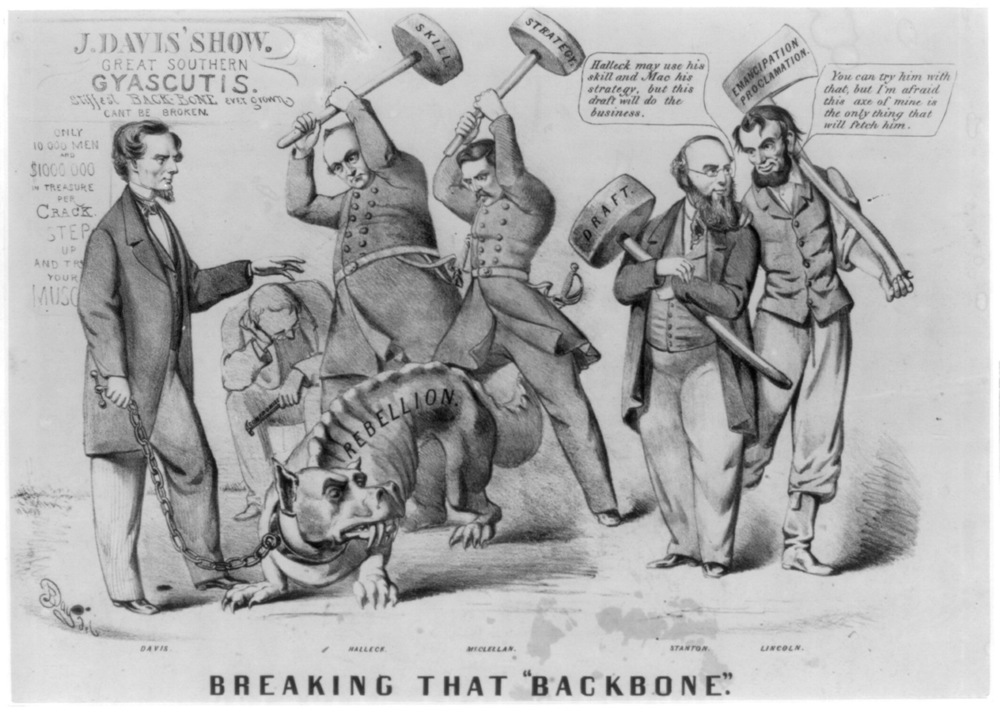 "Breaking that ""backbone""  (Currier and Ives, 1862 or 1863)"