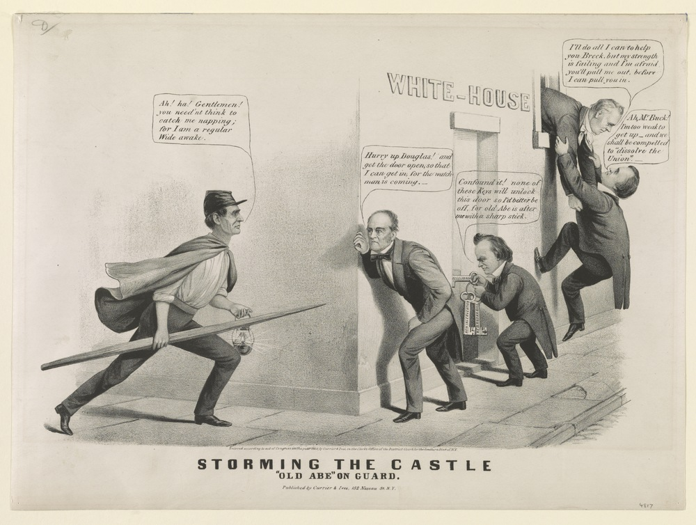 "Storming the castle:  ""Old Abe"" on guard (Currier and Ives, 1860)"