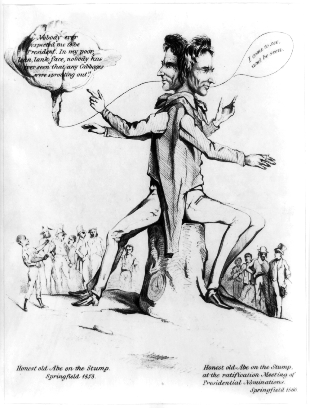 Honest Abe on the stump (unknown lithographer, 1860)
