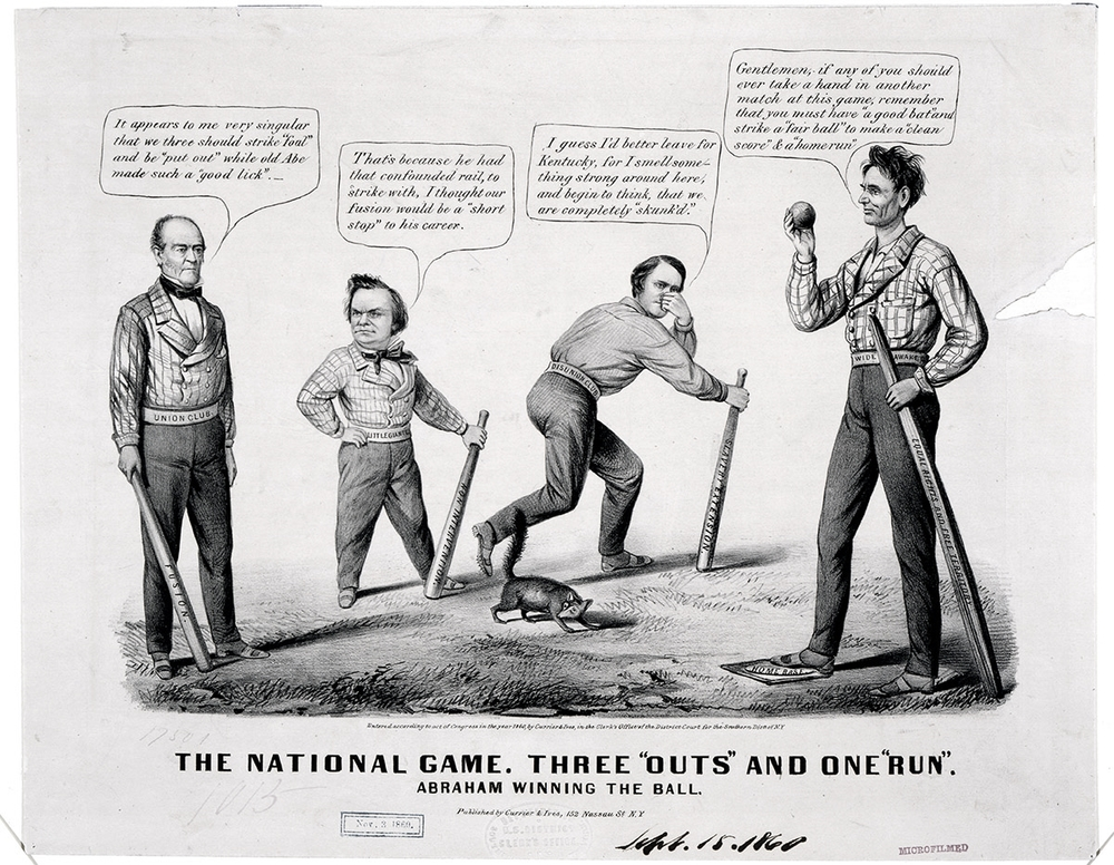 "The National Game:  three ""outs"" and one ""run"" (Currier and Ives, 1860)"