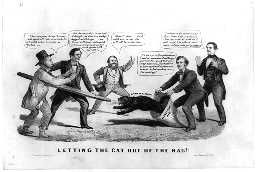 Letting the cat out of the bag!! (Currier and Ives, 1860)