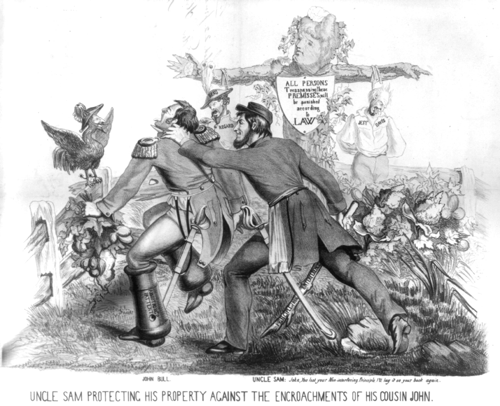 Uncle Sam protecting his property against the encroachments of his cousin John [Bull]  (Edward Stauch, 1861)