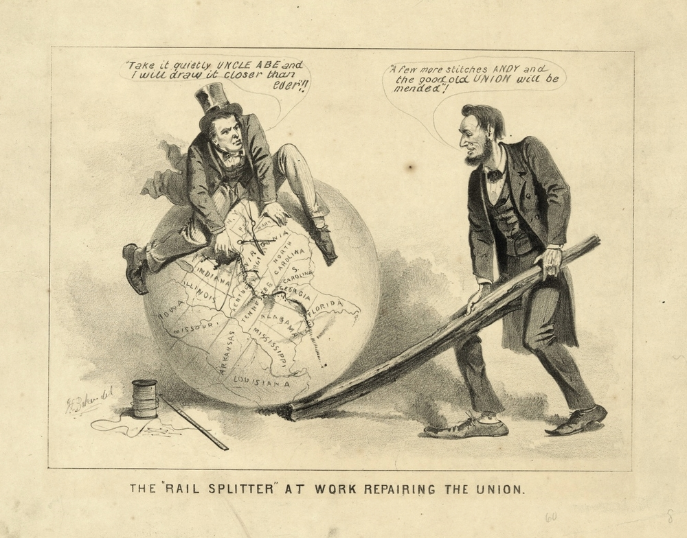 "The ""Rail-splitter"" at work repairing the Union (Joseph E. Baker, 1865)"
