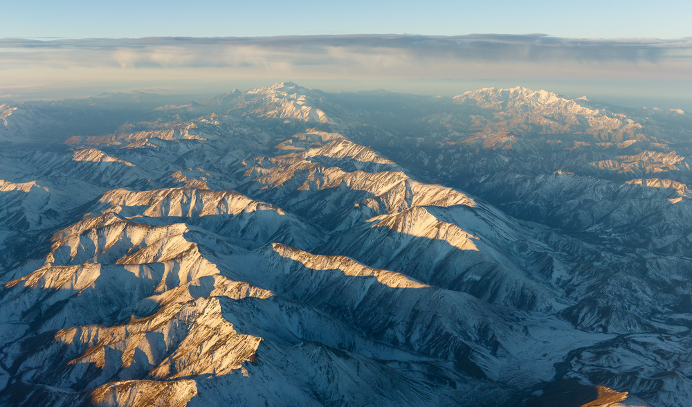A cold snap has left the alps covered in snow, seen here between Christchurch and Nelson.