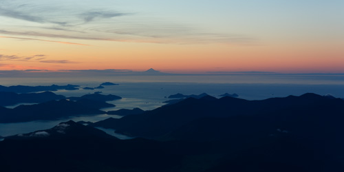 Mount Taranaki from the Marlborough Sounds