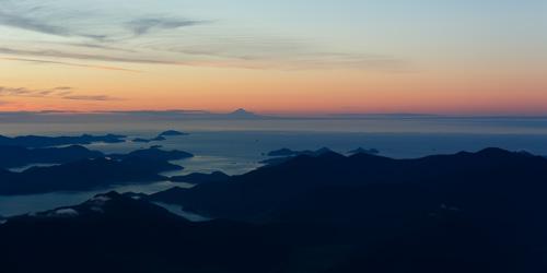 Mount Taranaki from the Marlborough Sounds