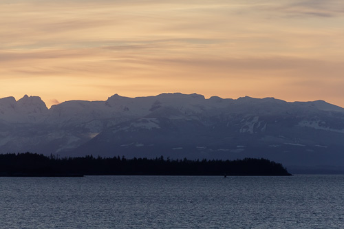 Sunset, looking towards Vancouver Island from Powell River, BC