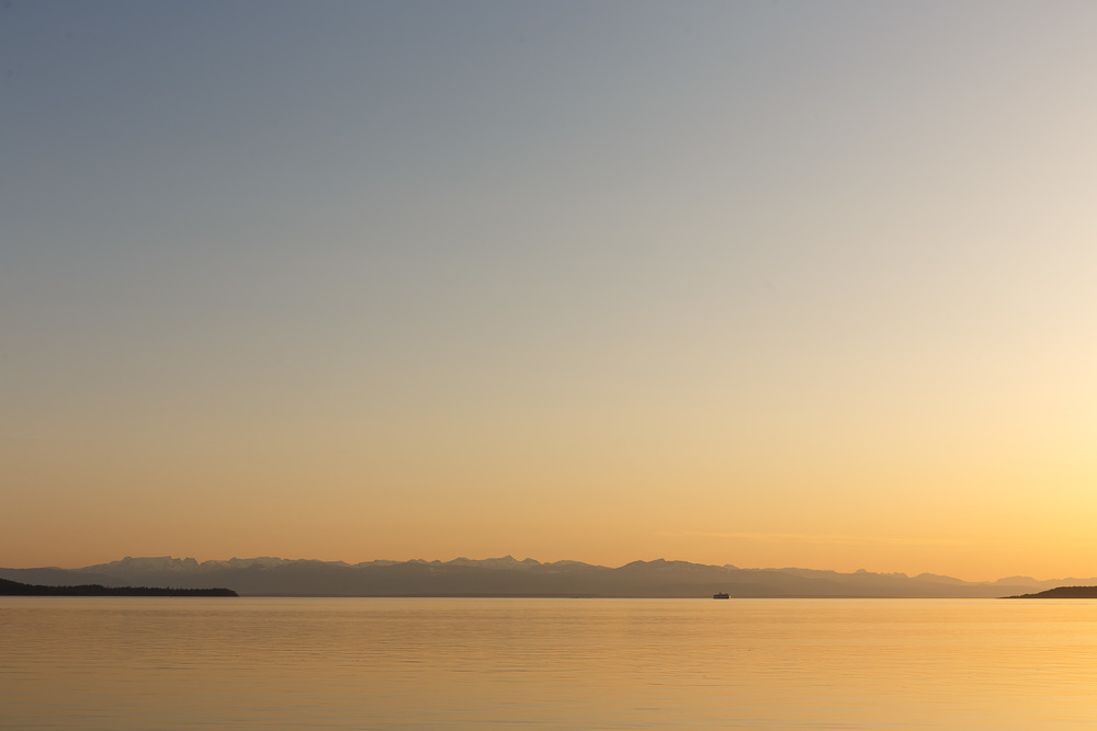 Sunset at the ferry terminal, with the Queen of Burnaby approaching from Vancouver Island.