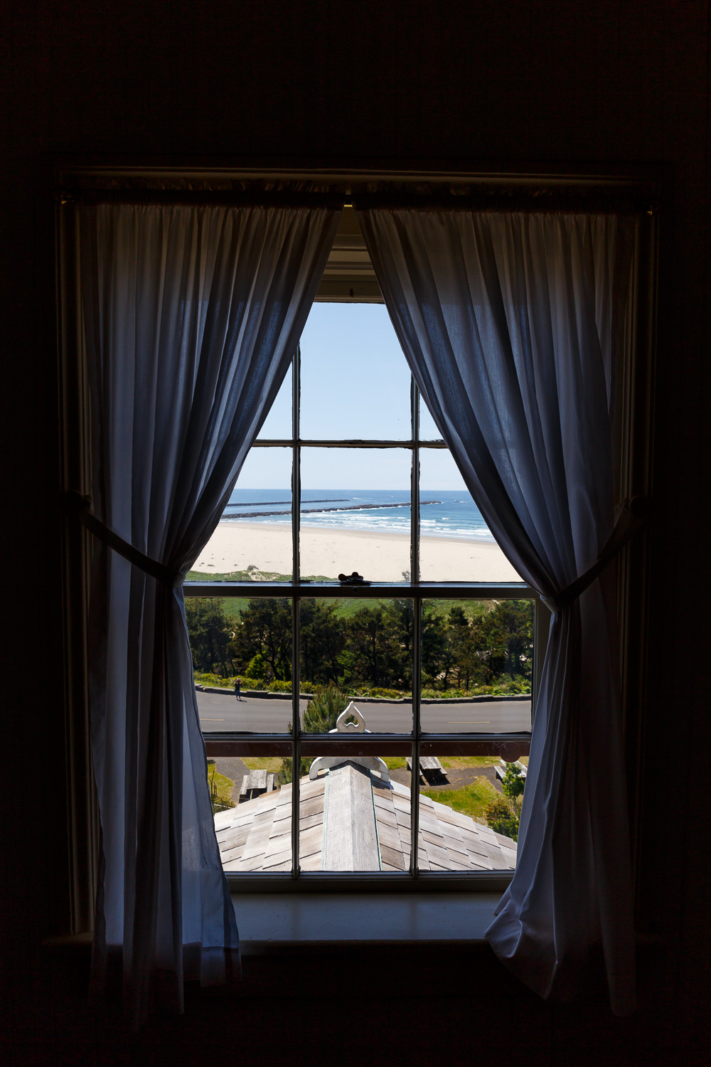 Looking out from the lighthouse at Newport, Oregon.