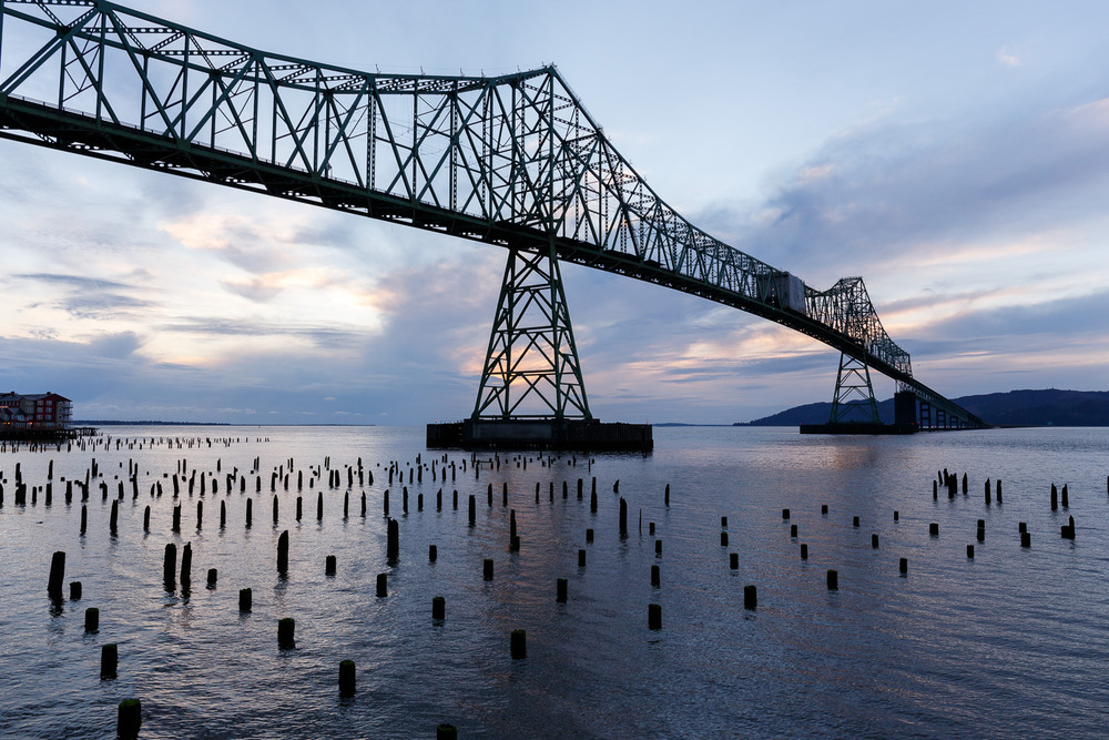 The 6.5Km Astoria-Megler Bridge, looking towards Washington.