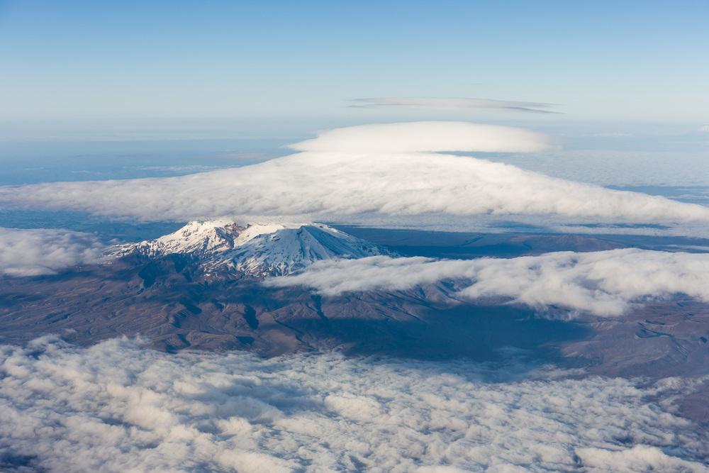 Mount Ruapehu capped in cloud.