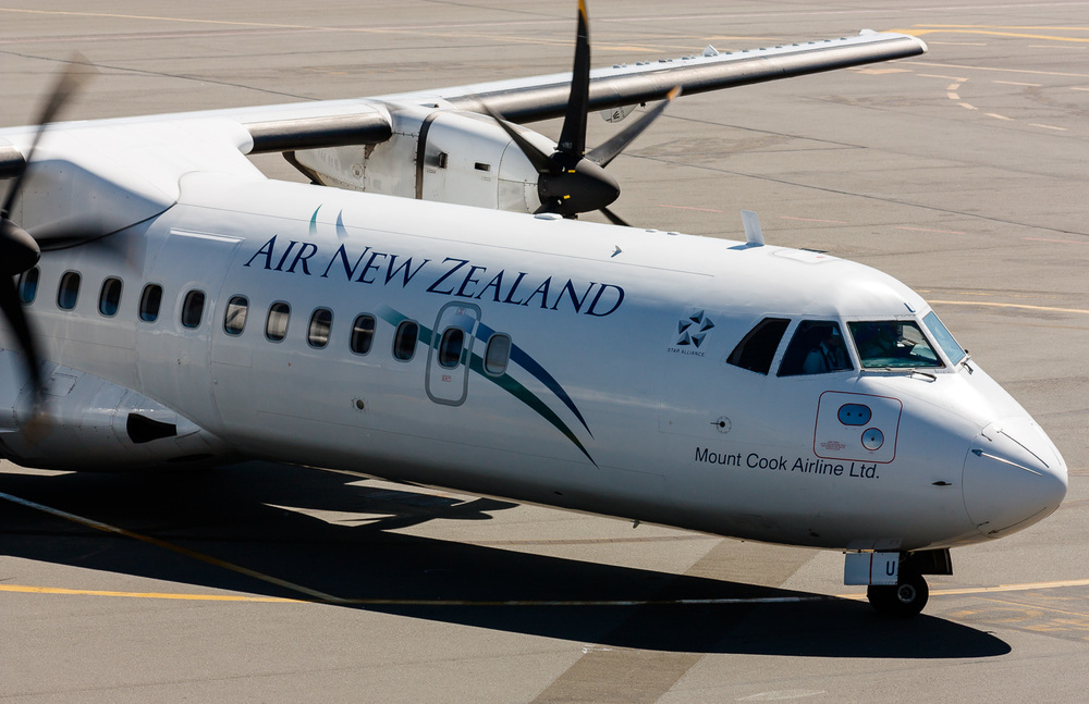 Mount Cook Airline ATR72-500 (ZK-MCU) arriving at the stand in Christchurch, 2009.