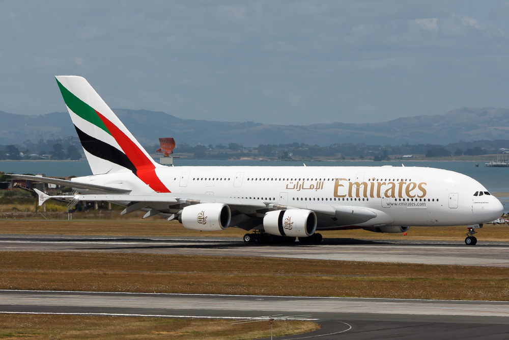 A6-EDD the first scheduled Emirates A380 into Auckland, February 2009.