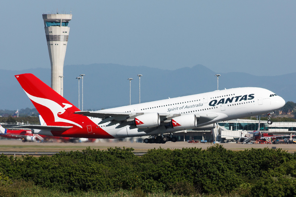 VH-OQA Qantas A380 departing 01 at Brisbane, during crew training in 2008.