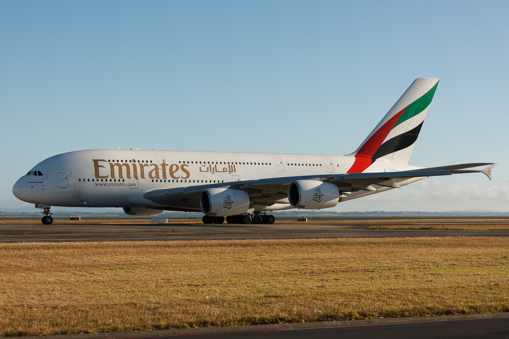 A6-EDA taxiing for departure from Auckland.