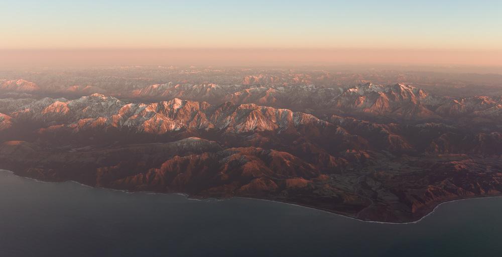 The Kaikoura coastline at sunrise.
