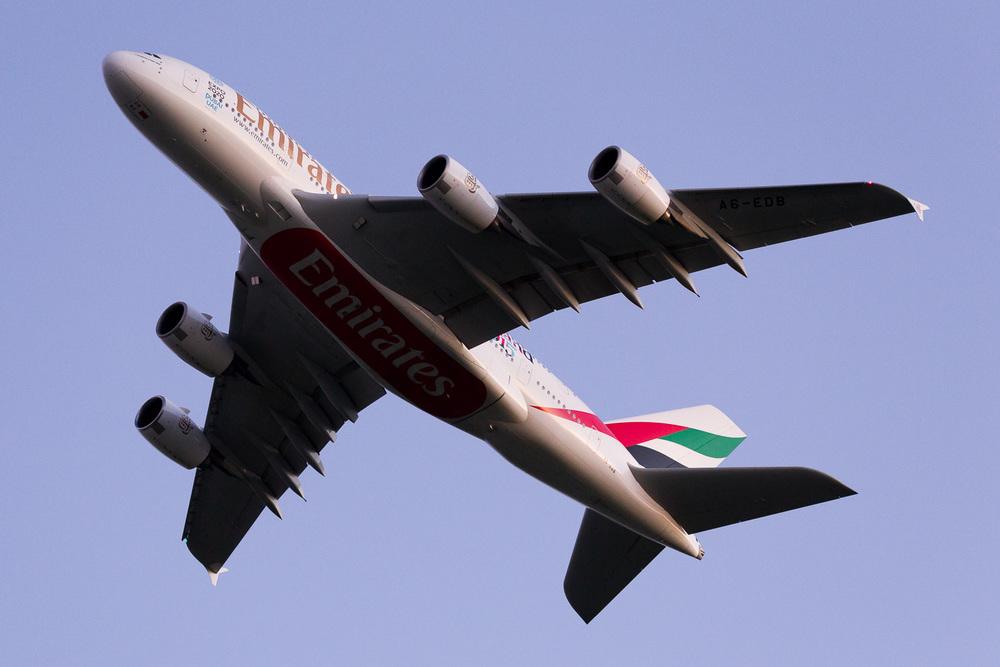 Emirates Airbus A380 A6-EDB departing Auckland