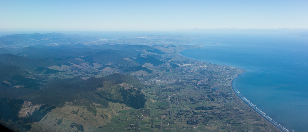 Kapiti Coast with Porirua and Wellington in the distance.