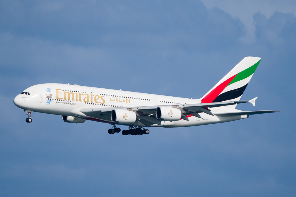 Emirates Airbus A380 A6-EDY landing on runway 05R.
