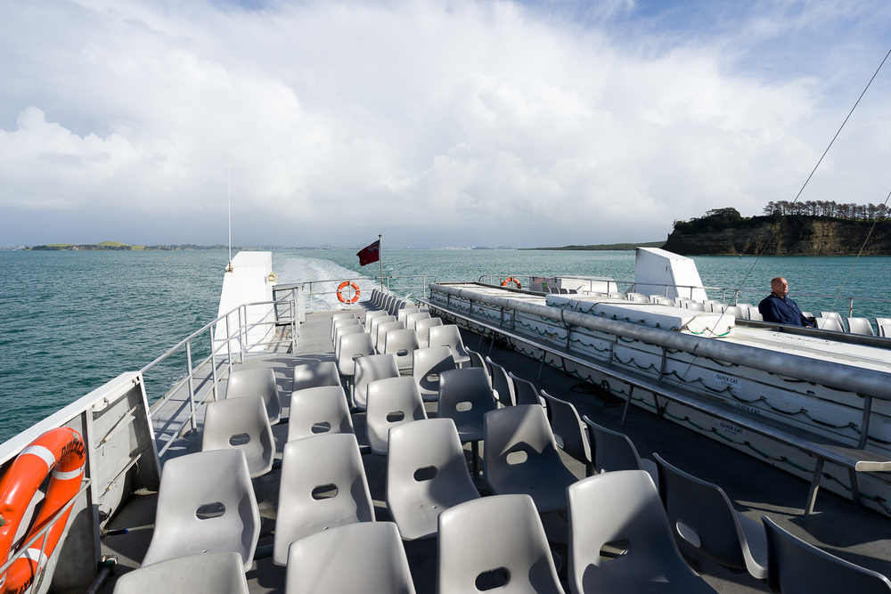 Storm clouds over Auckland, approaching Waiheke Island on the Quickcat ferry.