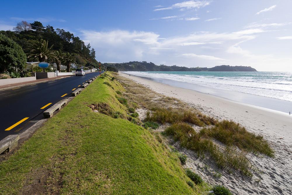 Long white sands on Onetangi Beach.